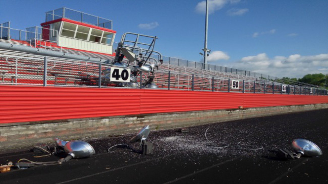 Monday's storm brought down a light tower at Campbell Memorial football stadium in Campbell, Ohio_40249