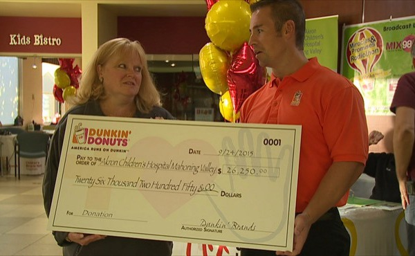 Dunkin' Donuts presented check to Akron Children's Hospital_52597