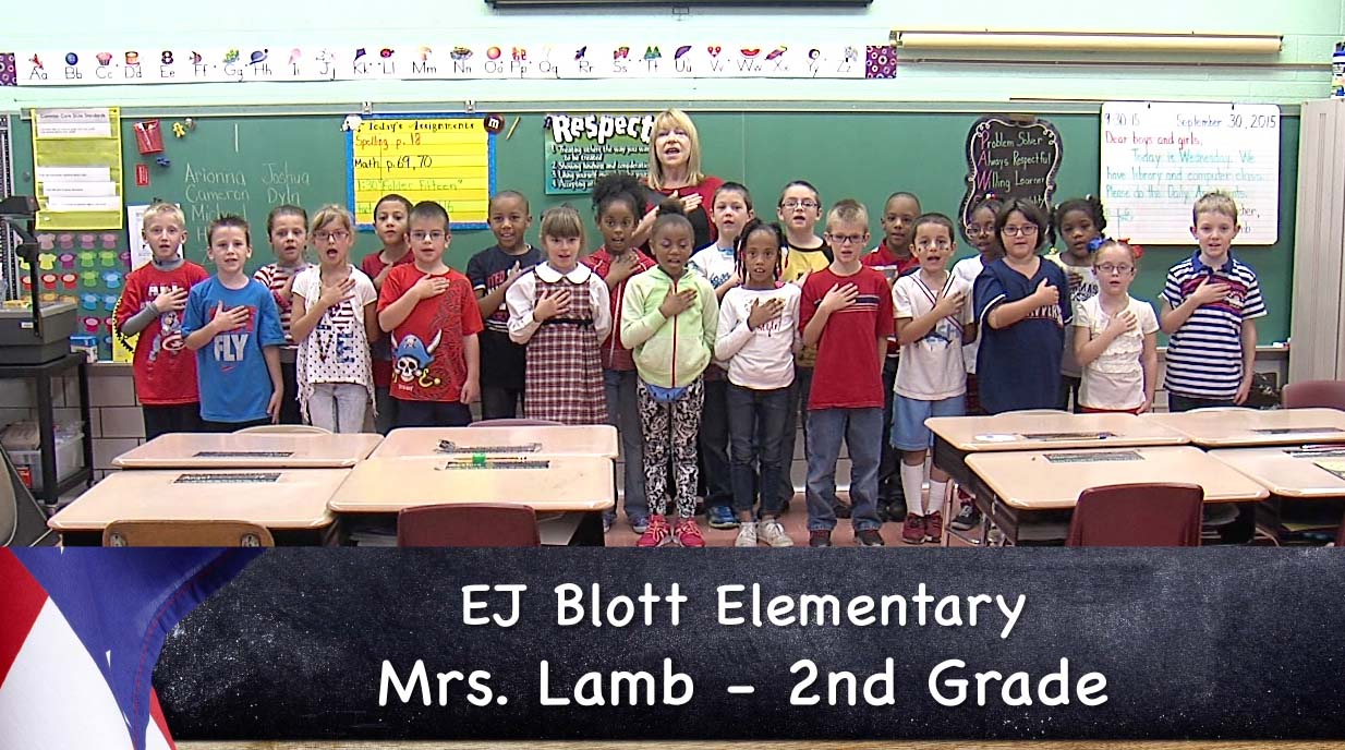 Mrs. Lamb's EJ Blott elementary second grade class reciting the Pledge of Allegiance._56290