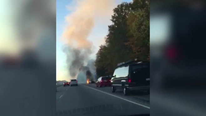 Car catches fire on Route 11_55931