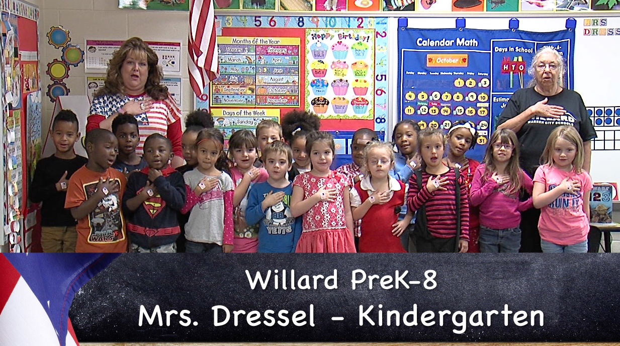 Mrs. Dressel's Willard PreK-8 elementary kindergarten class reciting the Pledge of Allegiance_57879