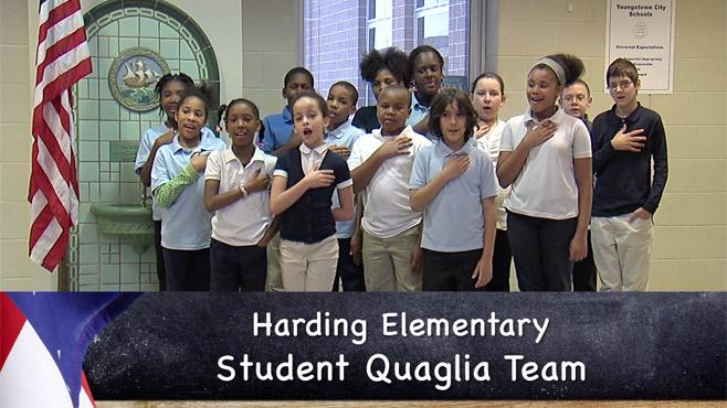 Harding Quaglia reciting the Pledge of Allegiance_63997