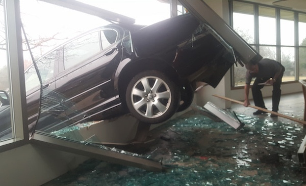 A car backed into the Blessed Sacrament Church Thursday morning in Warren, Ohio._68945