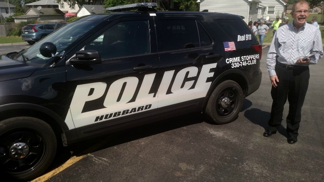 Crimestoppers reveal tip line number on Hubbard police cruisers