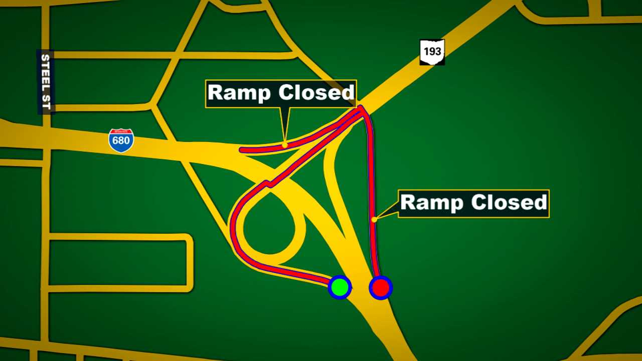 Interstate 680 ramp closures in Youngstown