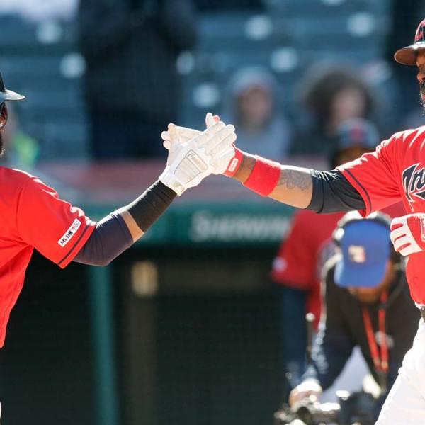 Cleveland Indians' Hanley Ramirez and Carlos Santana