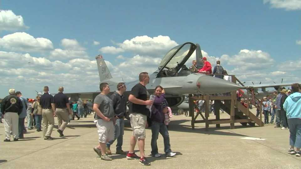 Guests walking around during the Youngstown Air Reserve's air show.