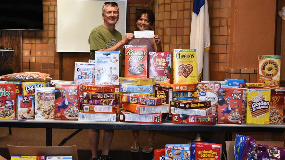 Bible School donates cereal to the Rescue Mission of the Mahonig Valley in Poland, Ohio.