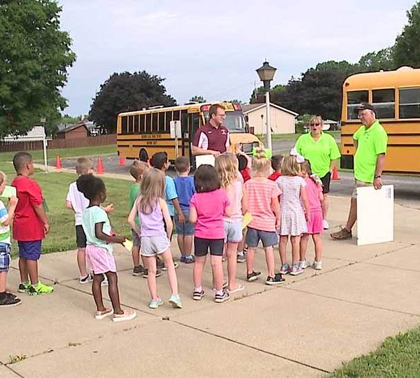 The new kindergarten class in Boardman got their first lesson of the year in bus safety.