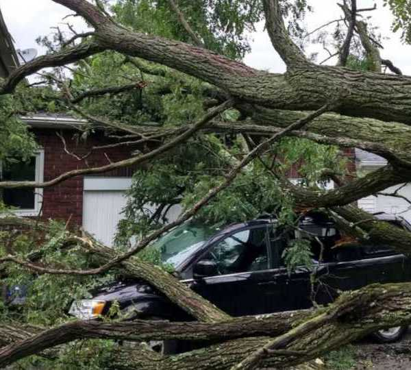 Storm damage in Woodworth, Beaver Township