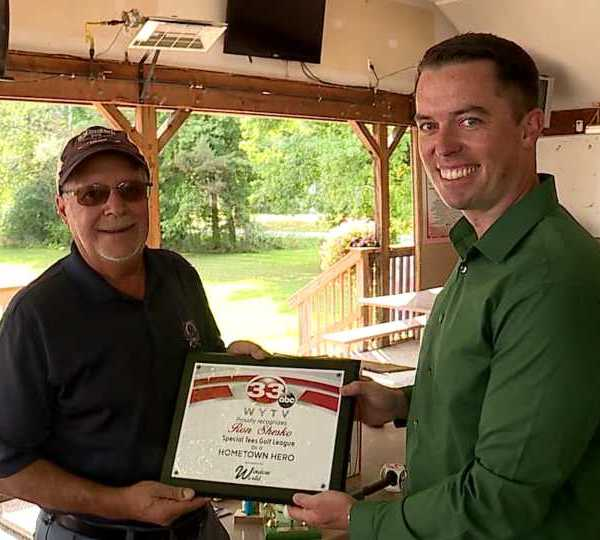 Ron Shesko receives Hometown Hero award for founding Special Tees Golf League.