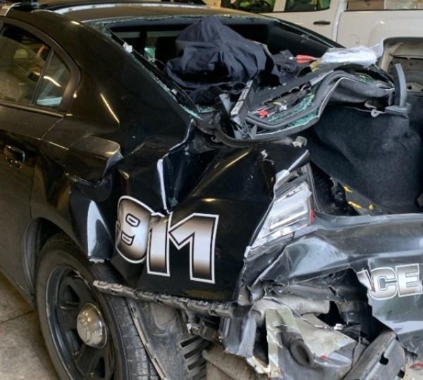 Braceville police cruiser hit and run