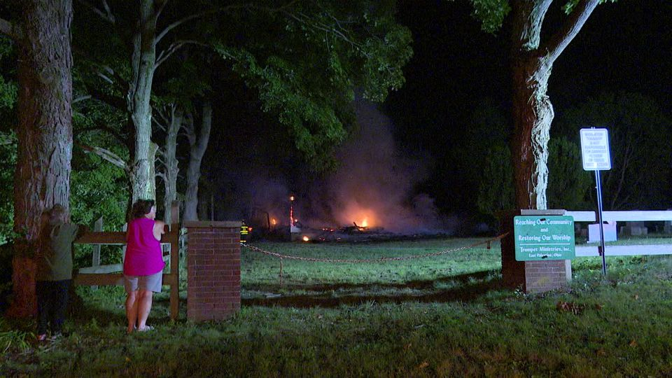 An old church near the East Palestine Country Club is a total loss after burning to the ground.