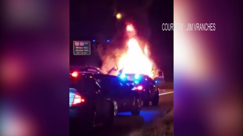 Fiery crash on I-680 in Youngstown