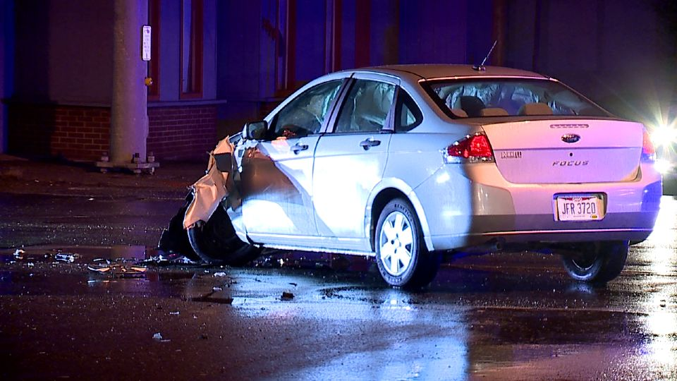 Three people were taken to the hospital after a crash in Youngstown Tuesday night.