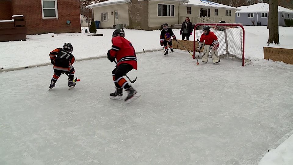 Several months ago, with COVID still very much an issue and hockey season starting, Canfield's Mike and Margaret DeNiro were unsure how much ice time their kids and their cousins would be getting. The solution - build an ice rink in their backyard.