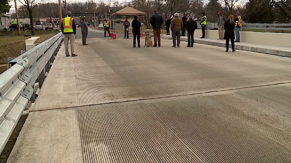 Myron Street Bridge ribbon cutting in Hubbard